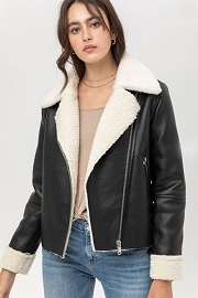 DOOR BUSTER: Faux Leather Sherpa Lined Motorcycle Jacket-Black