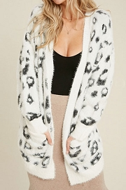 Soft Animal Leopard Print Eyelash Sweater Cardigan-White Leopard Print