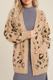 Soft Animal Leopard Print Eyelash Sweater Cardigan-Taupe Leopard Print
