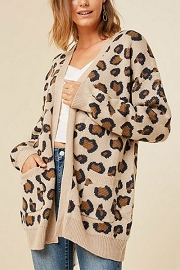 Oversized Leopard Print Knit Sweater Cardigan with Pockets-Tan Leopard Print