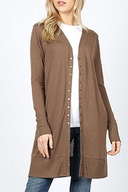 Long Sleeve Open Front Long Cardigan with Buttons-Mocha Brown