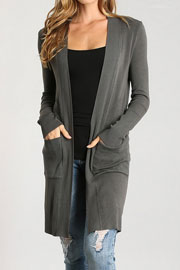 Long Open Front Everyday Cardigan with Pockets-Grey