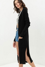 Longline Duster Open Front Cardigan with Pockets-Black