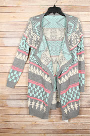FLASH SALE: Long Geometric Tribal Print Open Front Cardigan Sweater-Grey & Mint