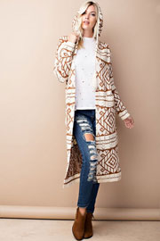 Long Hooded Tribal Aztec Geometric Print Open Front Cardigan Jacket-Off White & Brown