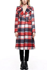 :As Seen In PEOPLE STYLEWATCH Magazine: Chic Belted Long Plaid Coat-Navy White & Red