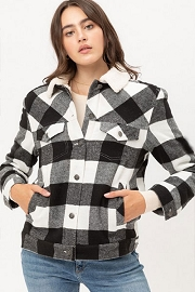 DOOR BUSTER: Buffalo Plaid Sherpa Lined Button Up Collar Jacket-Black and White