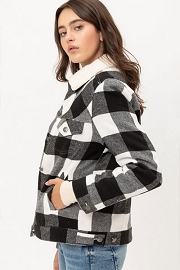 Buffalo Plaid Sherpa Lined Button Up Collar Jacket-Black and White