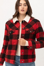 Buffalo Plaid Sherpa Lined Button Up Collar Jacket-Red and Black