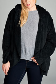 PLUS SIZE Long Sleeve Hooded Plush Faux Fur Jacket with Pockets-Black