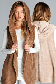 :AS SEEN IN US WEEKLY: Hooded Plush Faux Fur Vest with Pockets-Mocha Brown