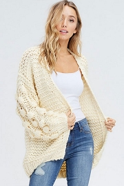 Heavy Knit Pom Pom Sleeve Cardigan Sweater-Off White