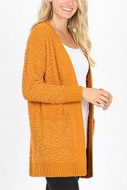 Long Sleeve Open Front Popcorn Cardigan Sweater with Pockets-Mustard Yellow