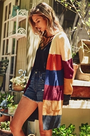 Colorful Rainbow Striped Knit Cardigan with Pockets-Fall Mustard