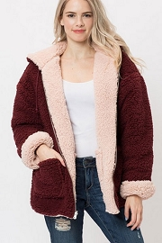 Zip Up Hooded Reversible Soft Sherpa Teddy Bear Sweater Jacket-Burgundy Wine & Blush Pink