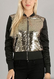 :As Seen In PEOPLE STYLEWATCH Magazine: PLUS SIZE Sequin Quilted Padded Bomber Jacket-Gold & Black