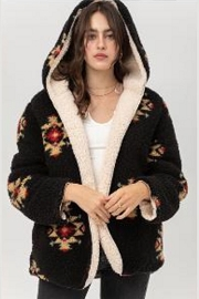 Aztec Tribal Print Hooded Reversible Soft Sherpa Teddy Bear Sweater Jacket-Black