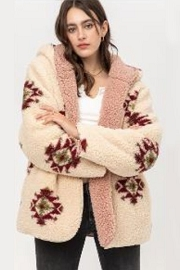 Aztec Tribal Print Hooded Reversible Soft Sherpa Teddy Bear Sweater Jacket-Cream Off White