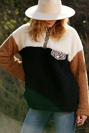 Colorblock Soft Sherpa Fleece Pullover Sweater with Leopard Print Pocket-Brown