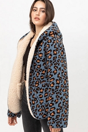 Leopard Print Hooded Reversible Soft Sherpa Teddy Bear Sweater Jacket-Blue Leopard