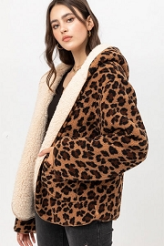 Leopard Print Hooded Reversible Soft Sherpa Teddy Bear Sweater Jacket-Brown Leopard