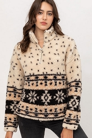 DOOR BUSTER: Aztec Fair Isle Sherpa Fleece Pullover Half Zip Up Sweater-Off White