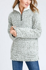 Super Soft Sherpa Fleece Pullover Zip Up Sweater Top-Grey