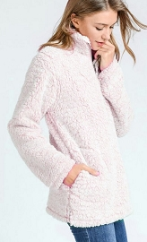 FLASH DEAL! ENDS SOON - Super Soft Sherpa Fleece Pullover Zip Up Sweater Top-Pink