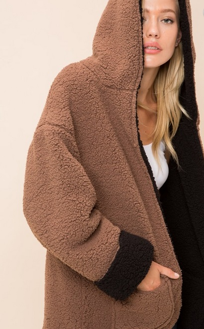 great discount sale elegant appearance lovely luster Hooded Reversible Soft Sherpa Teddy Bear Sweater Jacket-Mocha Brown & Black