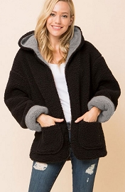 Hooded Reversible Soft Sherpa Teddy Bear Sweater Jacket-Black & Grey