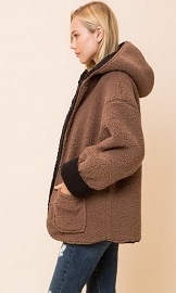 Hooded Reversible Soft Sherpa Teddy Bear Sweater Jacket-Mocha Brown & Black
