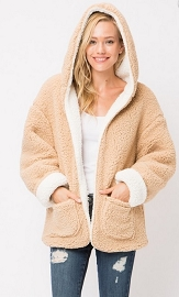 Hooded Reversible Soft Sherpa Teddy Bear Sweater Jacket-Off White & Beige