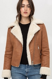 DOOR BUSTER: Faux Suede Sherpa Lined Motorcycle Jacket-Camel Brown