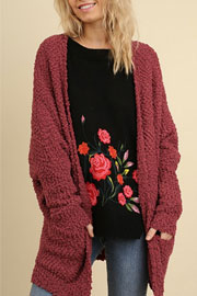 Long Sleeve Knit Open Front Cardigan Sweater with Pockets-Burgundy Red