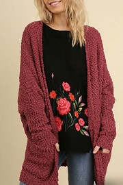 FLASH DEAL! ENDS SOON - Long Sleeve Knit Open Front Cardigan Sweater with Pockets-Burgundy Red