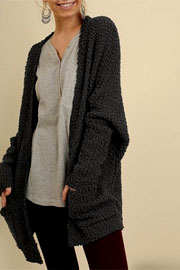 Long Sleeve Knit Open Front Cardigan Sweater with Pockets-Black