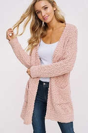 Long Sleeve Knit Open Front Cardigan Sweater with Pockets-Blush Pink