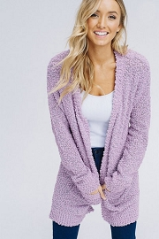 CYBER MONDAY FLASH DEAL! ENDS SOON - Long Sleeve Knit Open Front Cardigan Sweater with Pockets-Lavendar Purple
