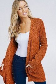 Long Sleeve Knit Open Front Cardigan Sweater with Pockets-Rust