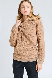 Super Soft Sherpa Cozy Hoodie Sweater with Pockets-Camel Brown