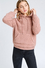 BLACK FRIDAY FLASH DEAL! ENDS SOON - Super Soft Sherpa Cozy Hoodie Sweater with Pockets-Mauve Pink