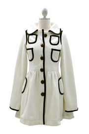 Adorable Vintage Inspired Jacket with Contrasting Pockets-White