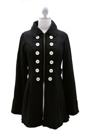 FLASH SALE: Vintage Inspired Military Jacket with Contrasting Buttons-Black