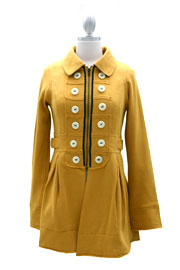 FLASH SALE: Vintage Inspired Military Jacket with Contrasting Buttons-Mustard Yellow