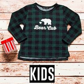 Kid's Toddlers Long Sleeve Checkered Graphic Top - Bear Cub-Green