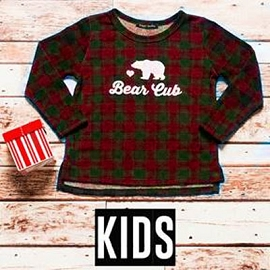 Kid's Toddlers Long Sleeve Checkered Graphic Top - Bear Cub-Red