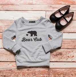 Kid's Toddlers Long Sleeve Solid Graphic Top - Bear Cub-Grey
