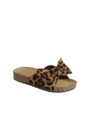 KIDS' SIZE - Animal Print Faux Suede Bow Sandals-Leopard Print
