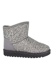 KIDS Girls Glitter Boots-Silver