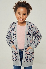 Kid's Girl's Oversized Leopard Print Knit Sweater Cardigan with Pockets-Grey Leopard Print